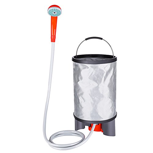 Baban Portable Outdoor Shower+Collapsible Bucket, Camping Shower Battery Shower Powered Handheld Outdoor Shower Rechargeable Camping Showerhead Turns Water from Bucket/Sink Into Steady, Gentle Stream