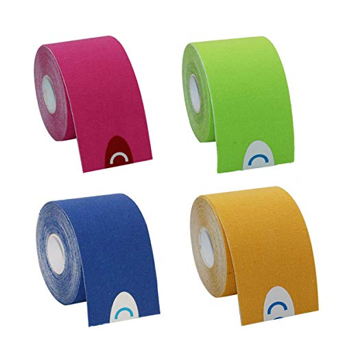 OBTANIM 4 Rolls Breathable Cotton Kinesiology Tape Athletic Elastic Kneepad Muscle Pain Relief Knee Taping for Gym Fitness Running Tennis Swimming Football (Red, Royal Blue, Fluorescent Green, Yellow)