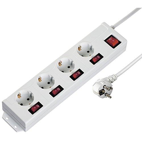 Hama 4-fach Steckdosenleiste einzeln schaltbar (Wandmontage, extra großer Buchsen-Abstand, Stecker 90° gedreht für gerade Anordnung, 1,4m Kabel) Mehrfachsteckdose Steckerleiste weiß