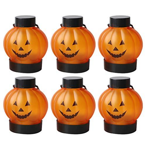 PartyKindom Luces de vela de calabaza LED creativas linternas de Halloween (naranja) decoraciones de Halloween para fiesta de Halloween