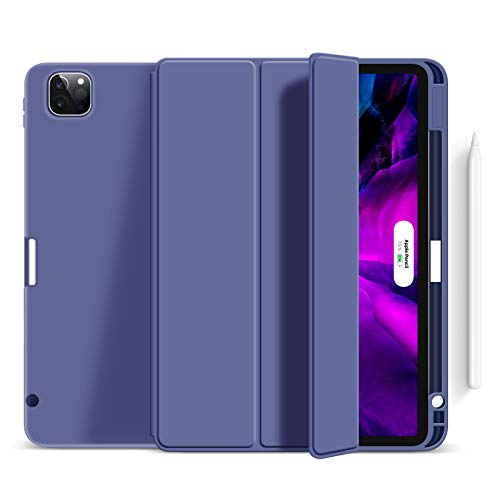 Case for Ipad Pro 11' 2020 with Pencil Holder, Soft Flexible TPU Back Cover, Auto Sleep/Wake, Multiple Viewing Stand for Ipad Pro 11 2020,Purple