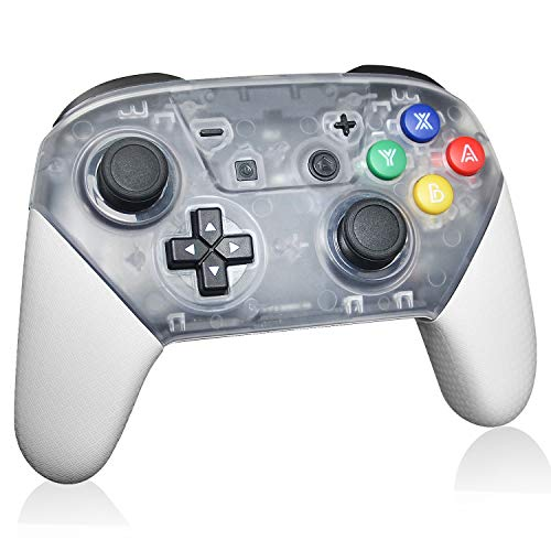 Switch Pro Controller, Pro Controller for N-Switch and Switch Lite, Wireless Switch Controller with 1000mAh Rechargeable Battery and Gyro Axis (White)