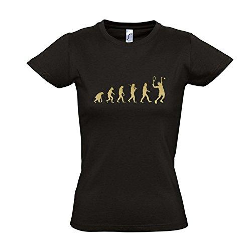 Damen T-Shirt - EVOLUTION - Tennis Sport FUN KULT SHIRT S-XXL , Deep black - gold , S