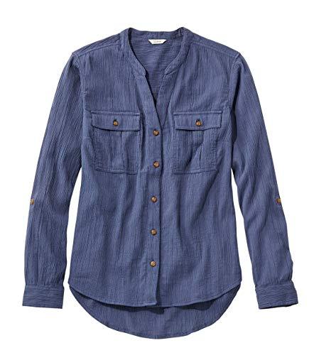L.L.Bean(エルエルビーン) ウィメンズ ソフト・コットン・クリンクル・シャツ ロールタブ ジャパン・フィット XLサイズ Ink Blue ブルー 1000042736
