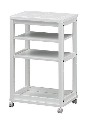白井産業 キッチン ワゴン 約 幅53 奥行39 高さ85 cm キッチン 収納 棚 キャスター付き ホワイト (CEC-5540WWH セシルナ)