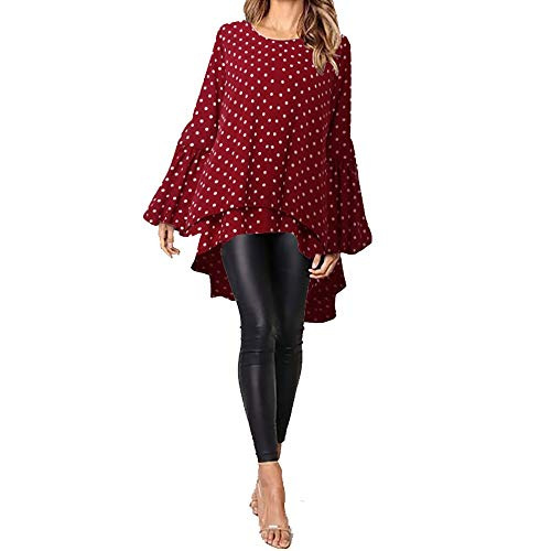 Libila damesblouse, asymmetrisch, casual, casual, truien, meer dan de grootte van de tuniek (kleur: rood polka dot, maat: L)