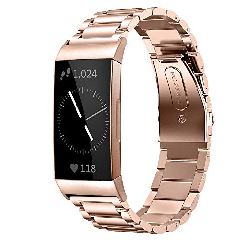 Shangpule Compatible for Fitbit Charge 3 / Fitbit Charge 4 / Fitbit Charge 3 SE bands, Stainless Steel Metal Replacement Strap Bracelet Wrist Band Large Small (Rose Gold)