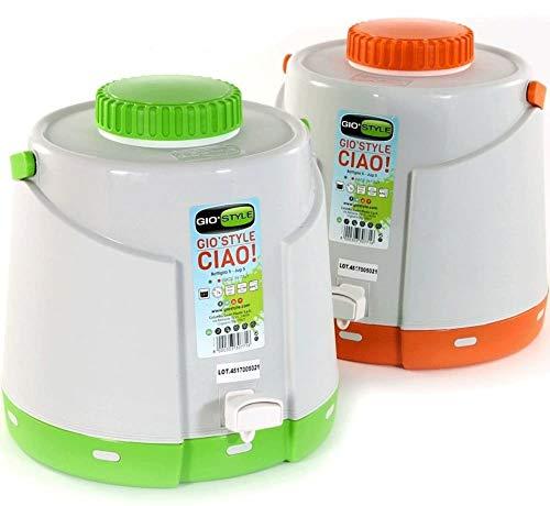 GIO STYLE Borraccia Termica con Rubinetto Dispenser 5 Litri Ciao Verde Arancio 2 PZ