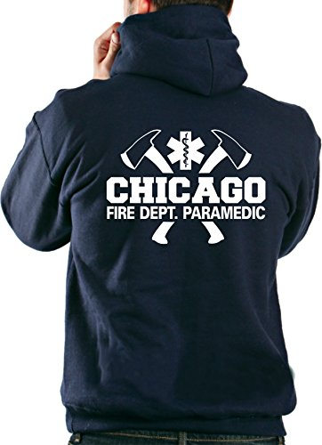 feuer1 Kapuzensweatjacke Navy, Chicago Fire Department - Paramedic mit Äxten