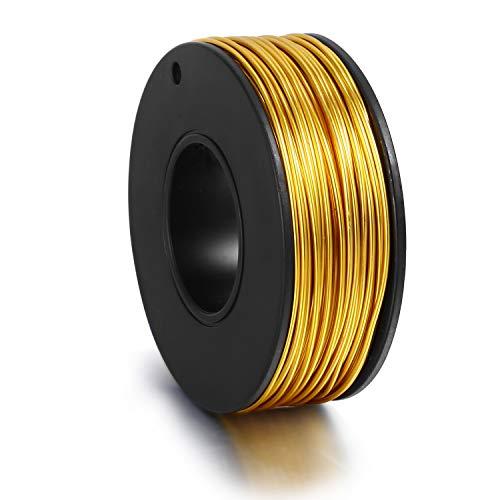 Alambre de oro para joyería Alambre de aluminio resistente al deslustre de alambre chapado en 18K para hacer joyas (72 pies (1 mm)