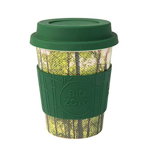 BIOZOYG Premium Bambus Kaffeebecher to go I Mehrweg Coffee to go Becher mit Deckel aus Silikon und Silikonmanschette, spülmaschinenfest BPA frei I Trinkbecher Kaffee Bamboo 400 ml