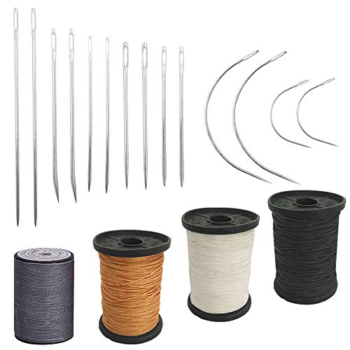 Set of 18 Heavy Duty Household Hand Needles and Extra Strong Upholstery Thread, findTop 7 Styles of Leather Canvas Sewing Needles and 4 Colors Nylon Thread (55 Yard)