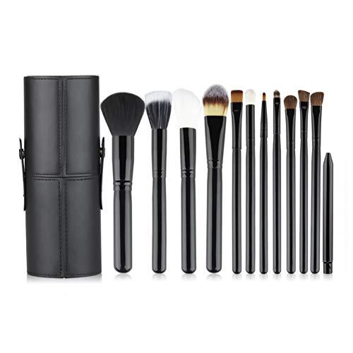 LJTJX Make-up penseel 12 sets van zwarte Make-up penseel Set Poeder Blush Foundation Oogschaduw Eyeliner Lip Make-up borstel met beugel doos