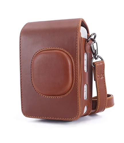 Phetium Schutztasche Kompatibel mit Instax Mini LiPlay hybrid Sofortbildkamera, Kameratasche mit Weichem PU Leder Material und Schulterriemen (Braun)