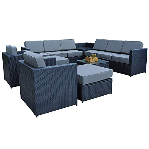 Mcombo Outdoor Patio Black Wicker Furniture Sectional Set All-Weather Resin Rattan Chair Conversation Sofas with Water Resistant Cushion Covers 6085-1013 (Grey)