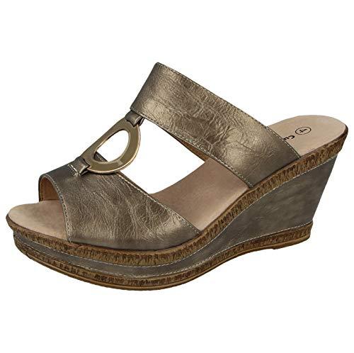 Cushion Walk Damen Pantoletten mit Lederfutter und Zehenbereich, mittelhoher Keilabsatz, Größe 36-42, Silber - Pewter/Gold - Größe: 36 EU