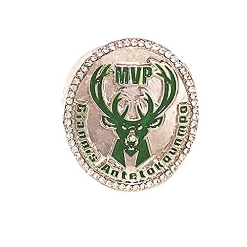 WSTYY 2018 NBA Milwaukee Bucks No. 34 Championship Ring Champion Ring Replica Creative Ring para Mujeres y Hombres,Without Box,11