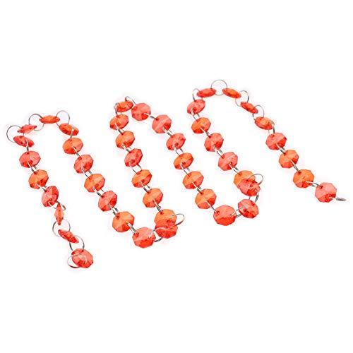 YJYJ Acrílico Ocho Lados Perlas Colgante Colgante Ornamento para La Decoración del Día De Navidad (Rojo) 1m