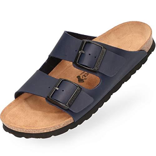 BOnova Herren Pantolette Schwanberg in 4 Farben, Bequeme Hausschuhe mit Kork-Fußbett - Sandalen hergestellt in der EU blau 47