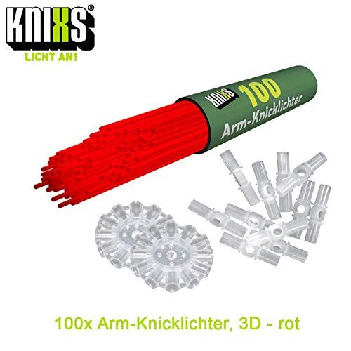 KNIXS 100x Arm-Knicklichter in rot inkl. 100 x 3D-Verbinder und je 2 x Ballverbinder und 7-Lochverbinder für Party, Festival, Geburtstag oder als Dekoration, geprüfte Markenqualität