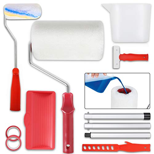 pw Paint Runner Pro Roller Brush Kit Painting Handle Tool Set for House, School & Office Wall, Ceiling, Floor, Fence, No Prep, No Mess, Painting in Just Minutes (11 Pcs)