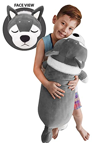 """Extra Soft & Squishy Husky Plush Hugging Pillow Pet Stuffed Animal Body Pillow for Kids & Adults Puppy Dog Cuddly Sleeping Pet Buddy Help Sleeping for Boys & Girls Best Gift for All Ages (Gray, 30"""")"""