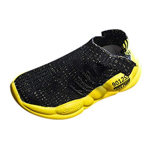 Zapatillas de Deporte Allence para niños y niñas, con Malla, Transpirables, con Suela Suave, con Tejido elástico Negro Talla única