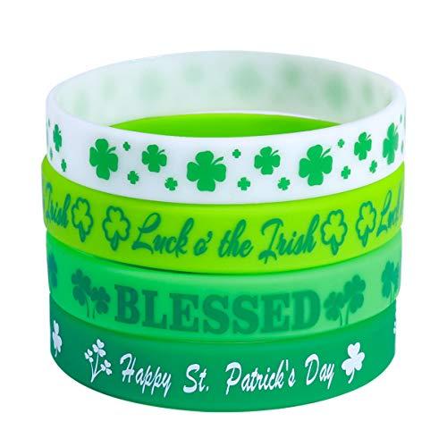 Holibanna 24Pcs Pulseras Del Día de San Patricio Pulseras de Brazalete de Trébol Verde Pulseras de Caucho Irlandés de Silicona Pulseras para Decoraciones Del Día de San Patricio 6Cm * 1.