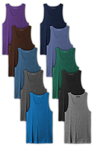Andrew Scott Men's 10-Pack Color A Shirt Tank Top Undershirts (10 Pack- Assorted Color Pack 1, Large)