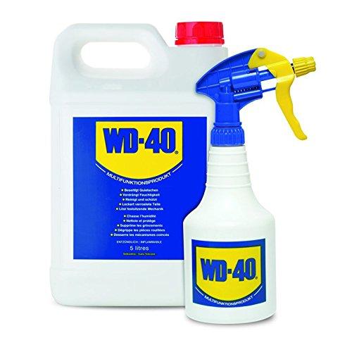 Huile multifonction WD-40 - 5l - Lubrifiante et dégrippante - Huile en bidon à vaporiser - Avec  vaporisateur à main de 600 ml (vide)
