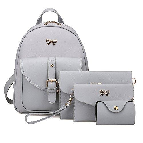 Brezeh, Taschenset für Damen mit Rucksack, Handtasche, Portemonnaie, Kartenetui (4-teilig)