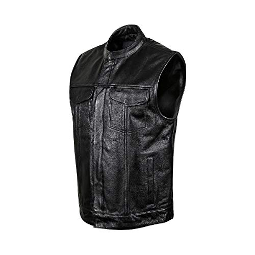 Street & Steel Redwood Men's Leather Vest, Black, XL