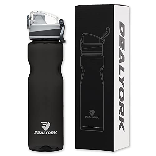 Dealyork 32oz Sports Water Bottle, Leakproof Measured Water Bottle, Tritan BPA Free Water Bottle For Sporting, Cycling, Working And Traveling
