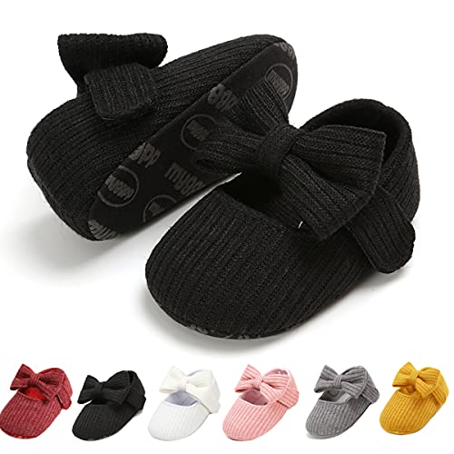 Ohwawadi Infant Baby Girl Shoes, Bowknot Baby Mary Jane Flats Princess Dress Shoes Soft Baby Crib Shoes (0-6 Months, 1933 Black)