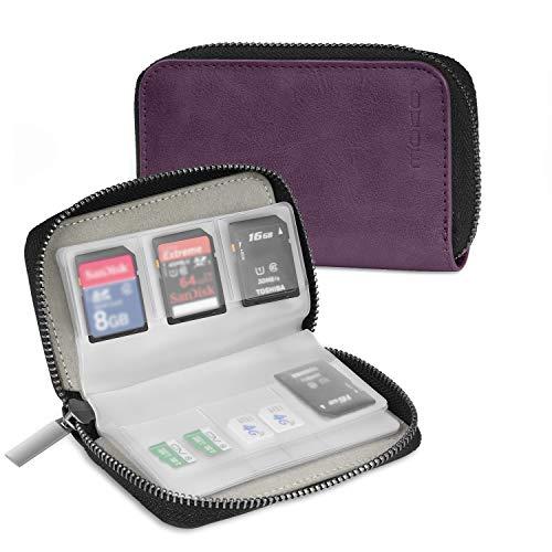 MoKo Speicherkarten Tasche - PU Leder SD Case Aufbewahrung Tragetasche Box Etui, 22 Speicherkarten (8 Seiten) Kompatibel mit SD CF SDHC SDXC MMC TF Nintendo Switch Spiele, Violett