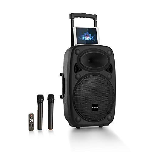 "auna Pro Streetstar 2.0 - Equipo PA portátil, Altavoz DJ, Bluetooth, Puerto USB, SD, MP3, AUX, Batería 3 Ah, LED, 2 micrófonos UHF, Mando a Distancia, Subwoofer 15"" (38cm), Potencia 1000W, Negro"