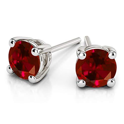 Orecchini da donna con diamante solitario rosso da 7/8 ct, orecchini da donna, in oro bianco 10 k, con diamante naturale di qualità