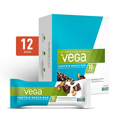 Vega Protein Snack Bar Chocolate Peanut Butter (12 Count, 45g bar) - Plant Based Vegan protein, Non Dairy, Gluten Free, Non GMO