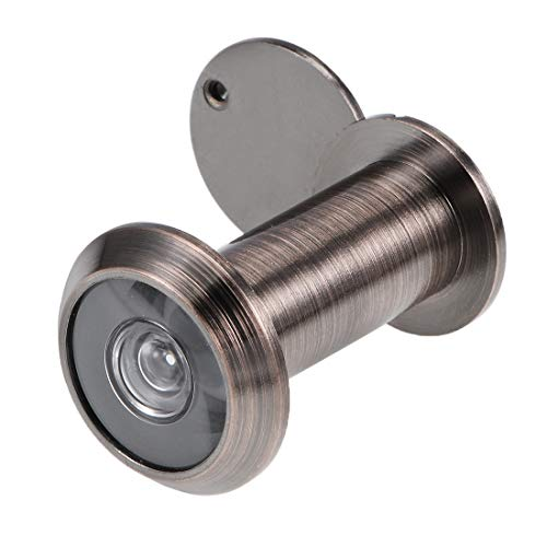 sourcing map Visor de puerta de latón de 200 grados con tapa para puertas de 35 mm-60 mm, cobre antiguo