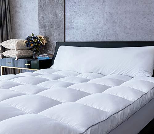 Mattress Topper Queen Cooling Plush Pillow Top Mattress Pad/Bed Topper, Hotel Quality Down Alternative Pillow Topper