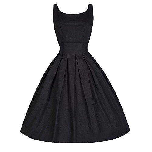 ✿Vestito Donna Elegante✿,Kword Donne Abito retrò Senza Maniche, Stile Vintage Donne Anni 50 Swing retrò Casalinga Partito Sera Vestito, Audrey Hepburn (Nero, M)