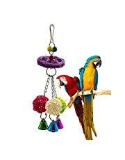 1 Pcs Colorful Parrot Stand Swing toy Wood Bird Natural Luffa Chew Rack toy Rattan Ball String toy Chewing Bite Luffa Rattan Ball Chew Toys