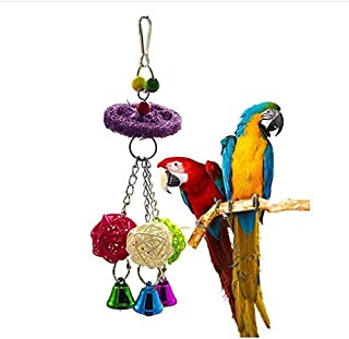 1 Pcs Colorful Parrot Stand Swing toy Wood Bird Natural Luffa Chew Rack toy Rattan Ball String toy Chewing Bite Luffa Ratt...