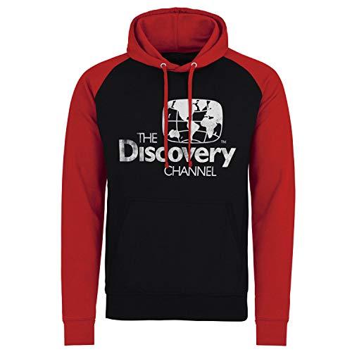 Discovery Officiellement sous Licence Channel Distressed Logo Baseball Sweat À Capuche (Noir - Rouge), XXL
