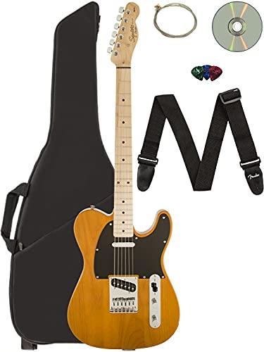 Fender Squier Affinity Telecaster - Butterscotch Blonde Bundle with Gig Bag, Tuner, Strap, Picks, and Austin Bazaar Instructional DVD