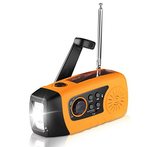 Etpark Emergency Hand Crank Self Powered FM Solar Weather Radio with LED Flashlight, MP3 Player, 2000mAh Power Bank for iPhone/Smart Phone Camping Outdoor Sports(Orange)