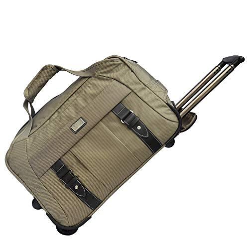 GonFan Sport Duffels Golf-Bekleidung Tasche mit Rollen Trolley Pulley Tasche for Männer und Frauen Workout Sporttasche Sport Gym Reisetaschen (Color : Khaki, Size : 50x28x32cm)