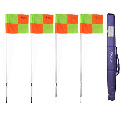 Kosma - Juego de 4 banderas de esquina para entrenamiento de fútbol, poste de esquina, color blanco con resortes y banderas con patrón de cuadrante naranja/amarillo, en bolsa de transporte