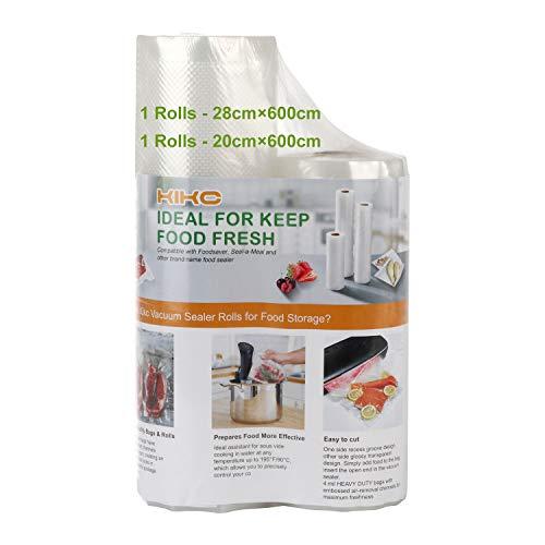 Kikc - Bolsa al vacío para envasado al vacío para olla – 2 rollos de 20 x 600 cm y 28 x 600 cm, rollo de envasado al vacío para máquina al vacío y la conservación de los alimentos y la cocción