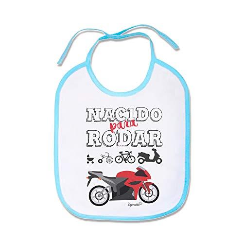 SUPERMOLON Babero bebé Nacido para rodar Azul celeste con cordones